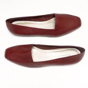 Worthington Cranberry Leather Flats Size 11 New